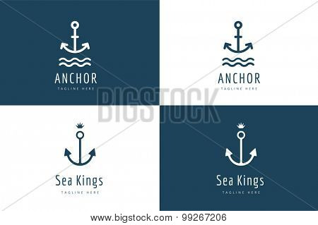 Anchor vector logo icon set. Sea, vintage or sailor and sea symbol. Anchor logo. Anchor icon. Sea symbol. Premium quality, tatoo.