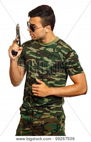 Young man with gun
