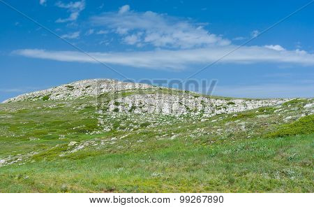 Spring landscape in Chatyr-Dah mountainous massif in Crimean peninsula
