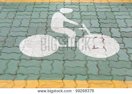 Bicycle Lane Sign On Road.