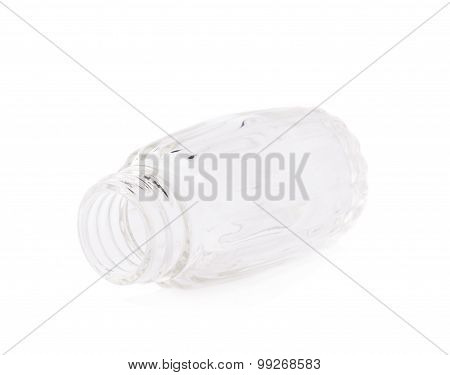 Empty glass bottle container isolated