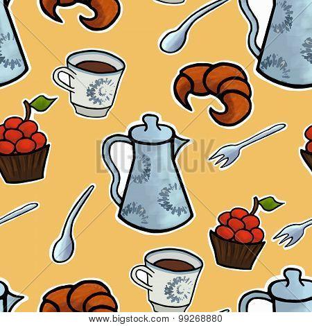 English Tea Ceremony Vector Pattern Illustration