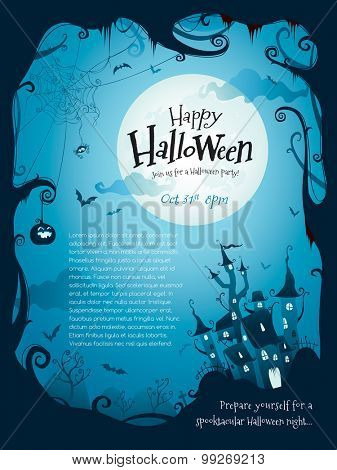 Halloween border design with wide copy space