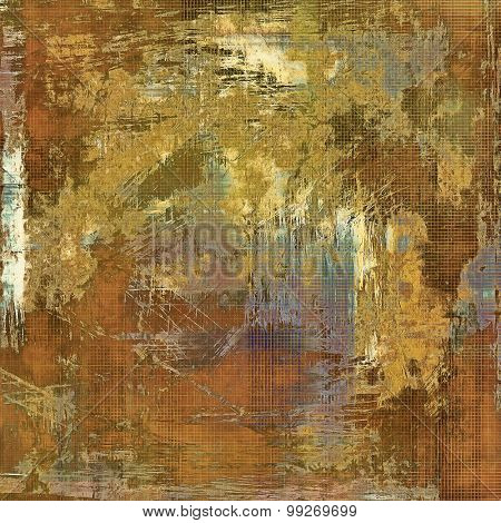 Abstract composition on textured, vintage background with grunge stains. With different color patterns: yellow (beige); brown; purple (violet); gray