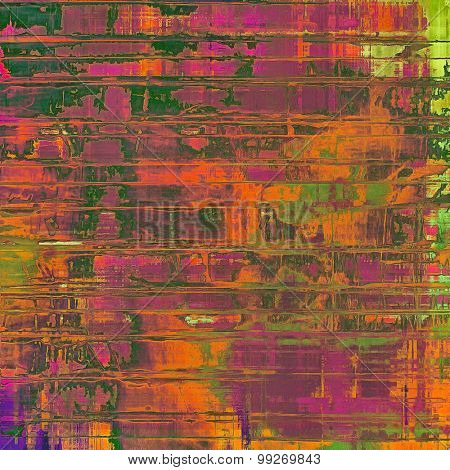 Colorful designed grunge background. With different color patterns: brown; red (orange); purple (violet); green