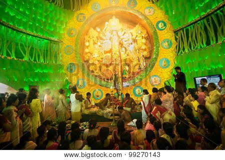 Priests Praying To Goddess Durga, Durga Puja Festival Celebration, Kolkata, India
