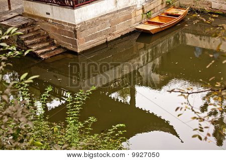 Garden Of The Humble Administrator Ancient Chinese Pagoda Reflection Boat Suzhou China