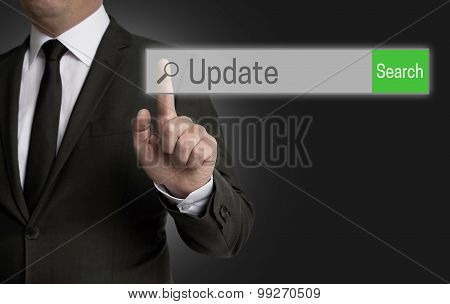 Update Internet Browser Is Operated By Businessman