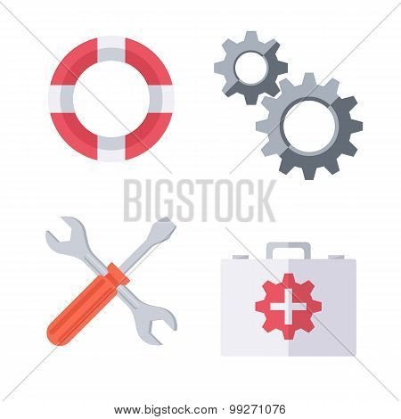 Technical support symbols.