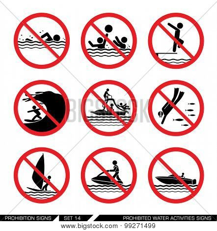 Set of prohibition signs for water activities. Collection of pictogram signs that ban dangerous actions at the sea. Vector illustration.
