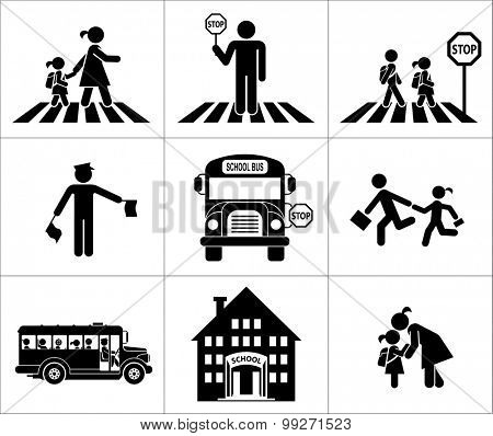 Safety of children in traffic. Children go to school. Pictogram icon set. Crossing the street.