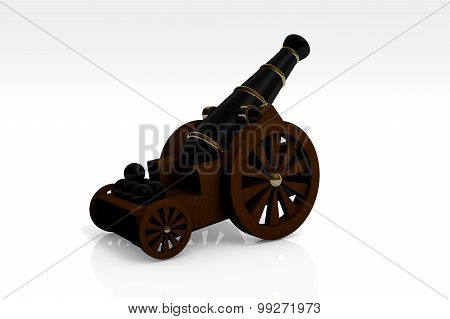 Medieval Artillery Gun On A Wooden Carriage