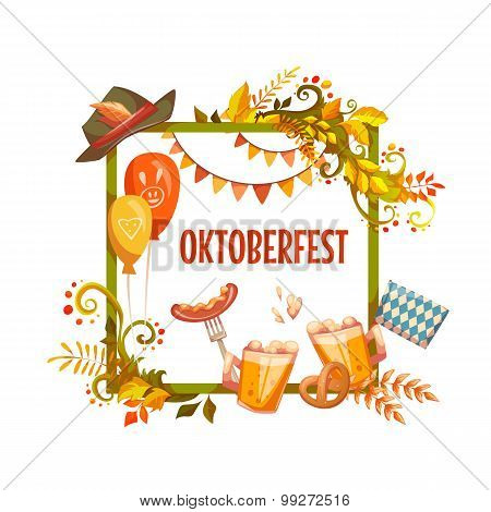 Banner for Oktoberfest celebration. Beer and ribbon. Vector illustrations