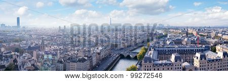Paris Skyline Panoramic View From Notre Dame