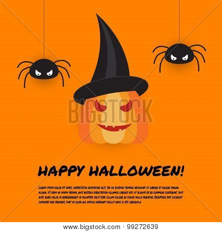 Halloween Design Template With Pumpkin And Spiders