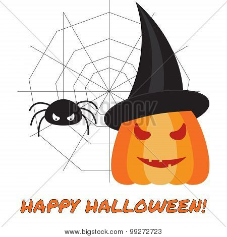 Halloween Vector Illustration With Pumpkin And Spider