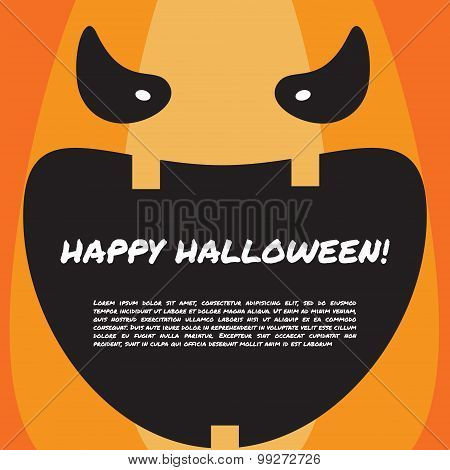 Halloween Party Design Template With Pumpkin Face