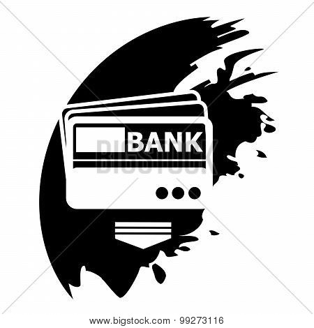 Credit Card ,vector, Black Blot Icon