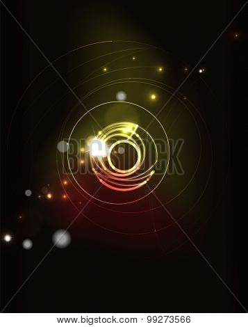 Glowing circle and blending colors in dark space. Vector illustration. Abstract background