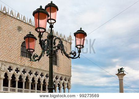 Venetian lantern on St Mark Square, Venice, Italy