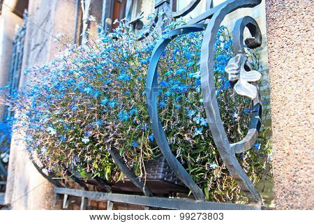 Window decoration with flowers