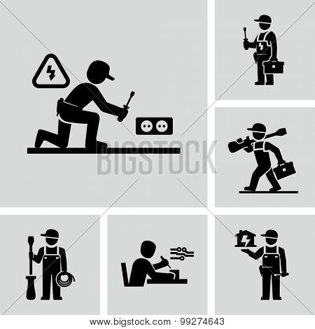 Vector Electrician Worker Icons Installing Wall Socket