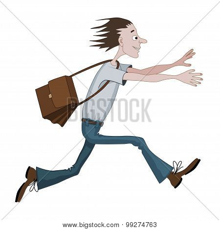 Carton Man Running Fast With Bag Towards Something Or Someone