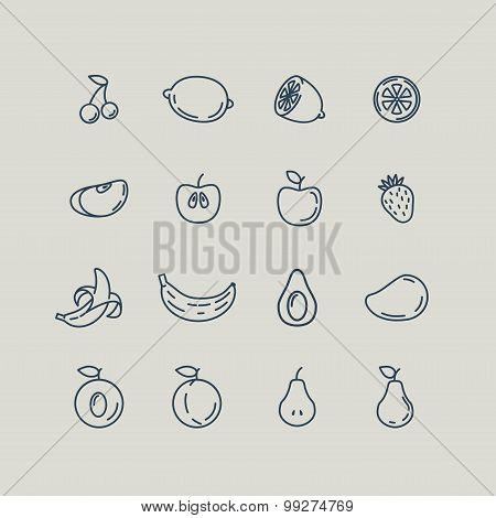 Set line icons fruit. Banana, apple, strawberry, cherry, pear, a