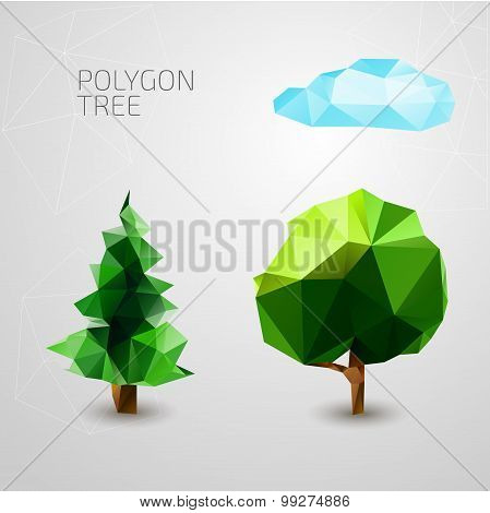 Set of polygons trees. Spruce, cloud . Vector