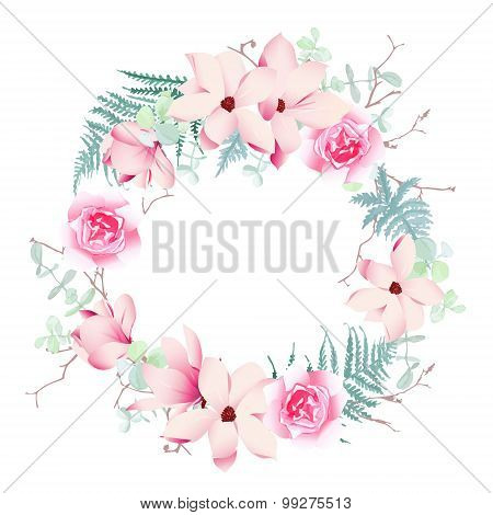 Magnolia roses and fern wedding wreath vector frame. Save the Date wedding template