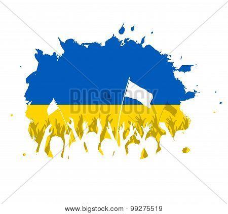 Celebrating Crowd with Ukrainian flag
