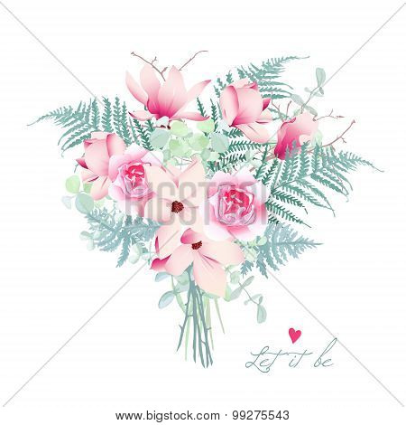 Delicate magnolia chinese styled bouquet. Floral design vector element