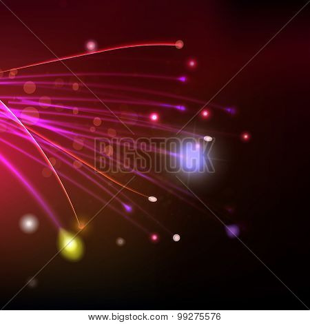 Abstract Fibers At Red Space Background