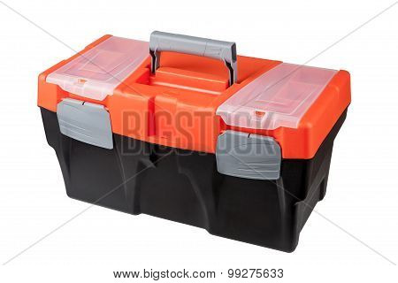 New Modern Closed Toolbox Black Plastic, With An Orange Top.