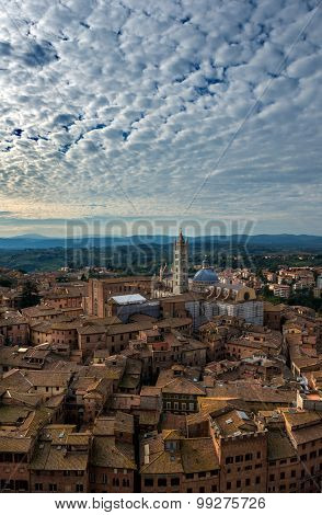Siena Aerial Sunset Panoramic View. Cathedral Duomo Landmark