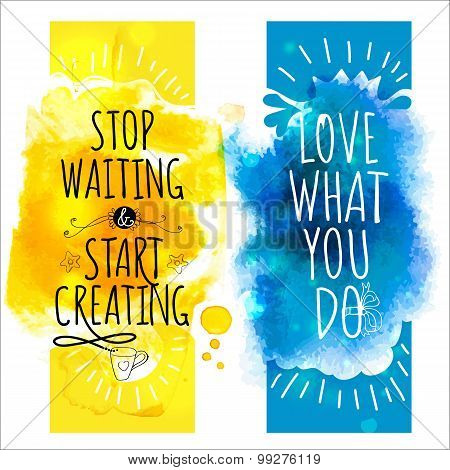Watercolor Splash Banners With Fun Life Style Messages