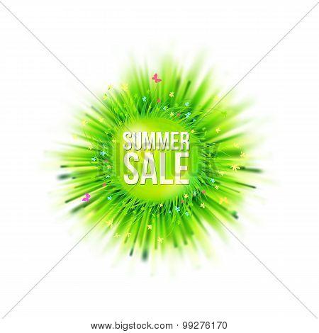 Summer Holidays Blur Grass Circle Sale