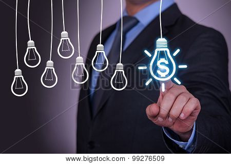 Finance Idea Concept Light Bulb on Screen