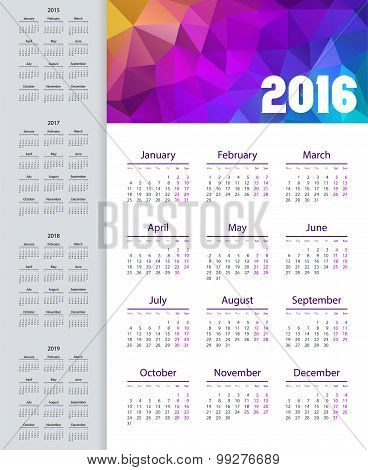 Calendar 2015, 2016, 2017, 2018, 2019 Year. Week Starts From Monday. Vector Illustration.
