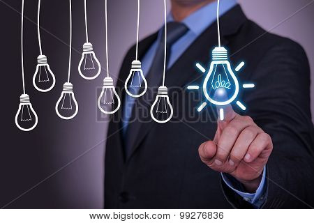 Idea Concept Light Bulb on Touch Screen