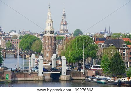 View to the historical building of Amsterdam, Netherlands.