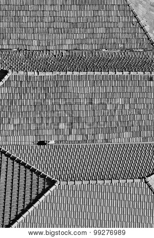 Portugal. Porto City. Old Historical Part Of Porto. Roofs. In Black And White