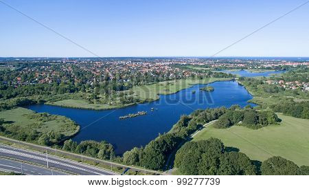 Aerial View Of Utterslev Mire, Denmark