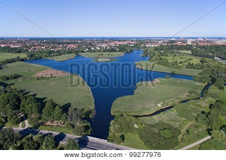 Aerial View Of Utterslev Mire  Denmark