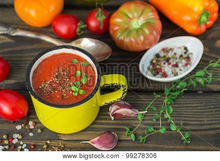 Homemade Thick Soup Made Of Tomatoes And Roasted Bell Peppers