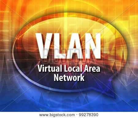 Speech bubble illustration of information technology acronym abbreviation term definition VLAN Virtual Local Area Network