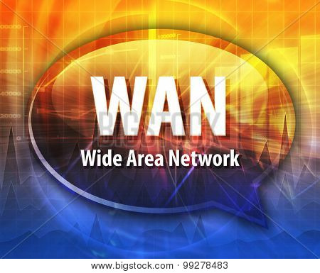 Speech bubble illustration of information technology acronym abbreviation term definition WAN Wide Area Network