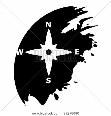 Compass Directions - Vector Black Icon Isolated