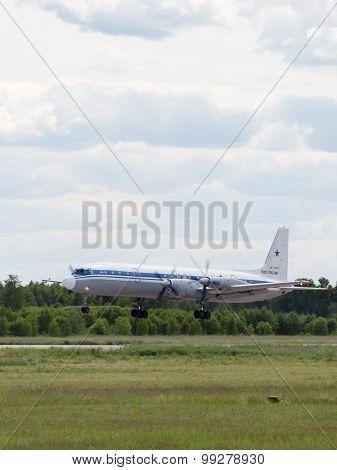 Landing Il-18 At The Airfield Kubinka