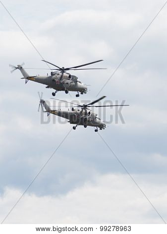 Two Attack Helicopters Mi-35